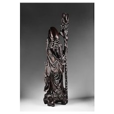 Brass Inlaid Hand Carved Chinese Sculpture