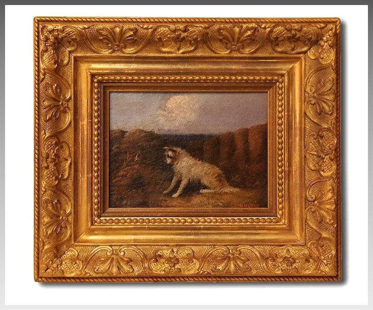 19th C. J. Langlois Terrier Oil Painting, Antique Frame : Pia\'s ...