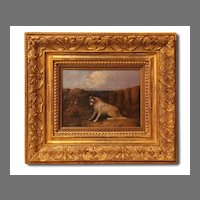19th C. J. Langlois Terrier Oil Painting, Gilded Frame