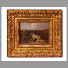 19th C. J. Langlois Terrier Oil Painting, Gilded Frame