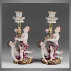 Royal Naples Capodimonte 19th c. porcelain Candlesticks