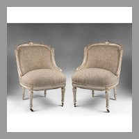 Pr. Of French Belle Epoque Period Chairs With Distressed Finish