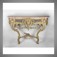 18th C. Hand Carved Venetian Console With Painted Finish