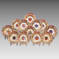 Set of 12 Capodimonte German Porcelain Heraldic Dinner Plates