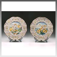 Pair Of Vintage Italian Maiolica Wall Chargers