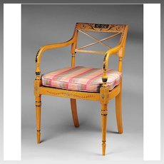 Mid 20th C. Adams Style Painted Armchair