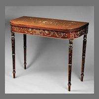 Edwardian Games Table With Stenciled Floral Decoration