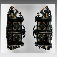 Victorian Aesthetic Movement Ebonized Corner Shelves By Schastey