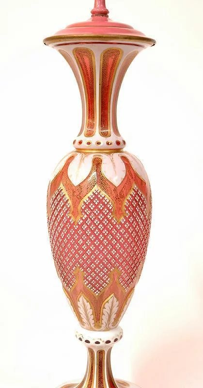 19th C Bohemian Hand Cut Overlay Ruby Glass Lamp Pia S