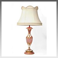 19th C. Bohemian Hand Cut Overlay Ruby Glass Lamp