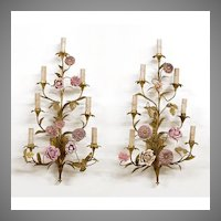 French 19th C. Pair of Bronze Sconces Mounted With Porcelain Flowers