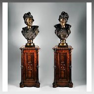 Pair of Ernest Rancoulet 19th C. Bronzes on Gillow & Co., Stands