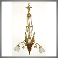 Bronze Flower Basket Shaped Chandelier With Wedgwood Plaques