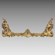 19th C. Suite of Cast Bronze Chenets and Connecting Fence