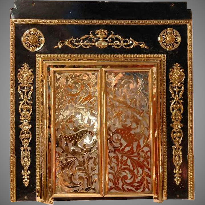 Incredible 19Th C French Pierced Brass Fireplace Screen Mounted To Surround Download Free Architecture Designs Pushbritishbridgeorg