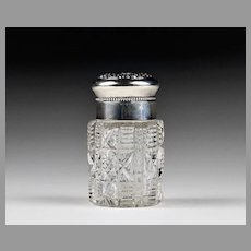 Cut Glass Scent Jar With Sterling Chased Hinged Top