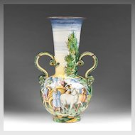 Faenza Hand Painted Italian Maiolica Snake Handle Vase