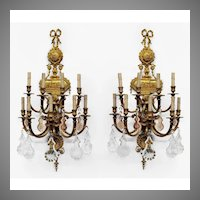 Pr. of Early 20th C. Neoclassical Bronze Nine Light French Sconces