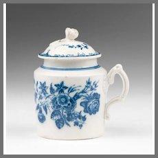 18th C. Caughley Pot de Crème or Mustard Pot With Cover
