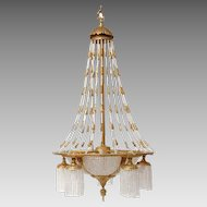 Victorian Bronze Beaded 7 Light Chandelier