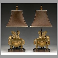 Pair of 19th C. Bronze Sphinx Chenets Fitted as Lamps