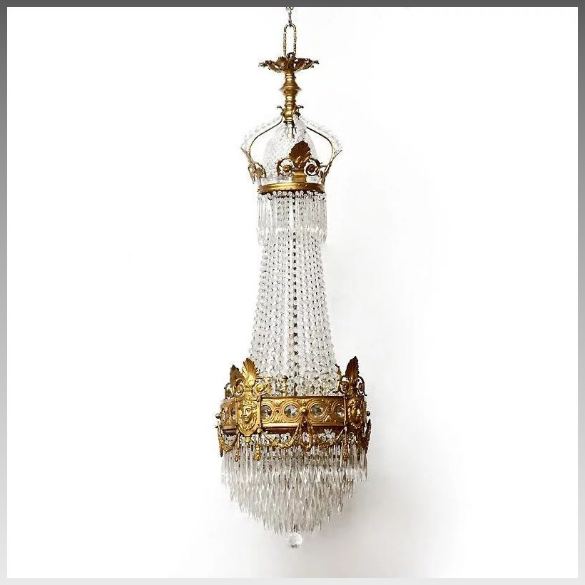 French Empire Bronze And Crystal Chandelier Pia S
