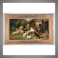 19th C. O/C of Farmyard Animals by Julius Scheuerer, 1859-1913