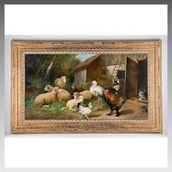 19th C. O/C of Farmyard Animals by Julius Scheuerer, 1859-1913