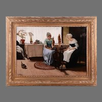 Danish Painting of Ladies Spinning Wool, By L. A. Ring.