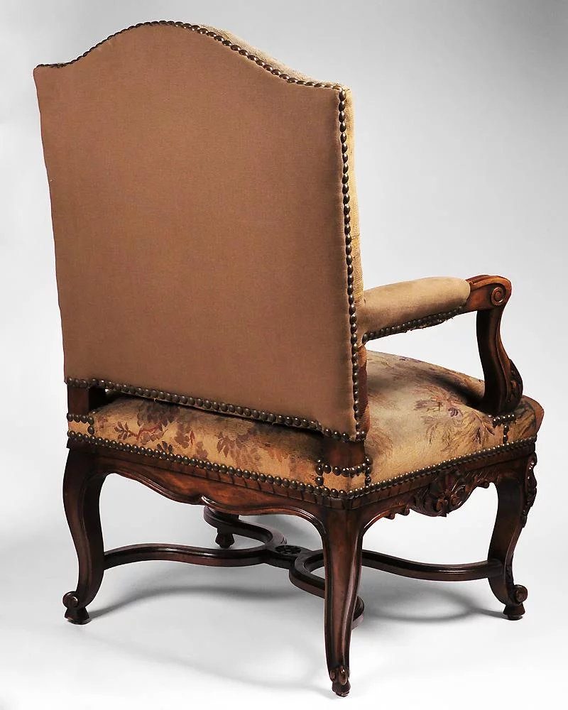 Carved 19th C. Louis XV Armchair with Aubusson Tapestry ...