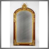 French Napoleon III Bronze Mounted Rosewood Mirror
