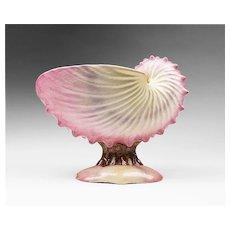 1870, English Pearlware Nautilus Shell Compote and Bowl