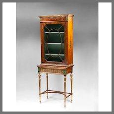 Satinwood Sheraton Painted Display Cabinet; 19th C