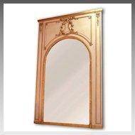 Belle Epoque Louis XVI Parcel Giltwood Carved Trumeau Mirror