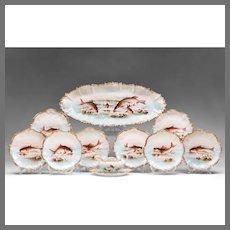 19th C. Coiffe & Touron Limoges Hand Painted Fish Set, 15 Pcs.