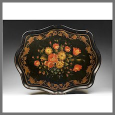 Late 19th C. Hand Painted Tray With Foliate Decoration