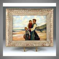 Oil on Board Beach Scene by Paul Michel Dupuy (1869-1949)