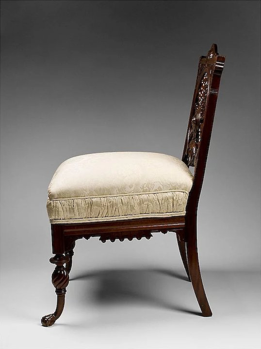 Genial Mahogany Twisted Spiral Carved Victorian Side Chair