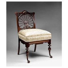 Mahogany Twisted Spiral Carved Victorian Side Chair