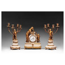 Vincenti & Cie Marble and Bronze Mantel Clock Garniture, 1855