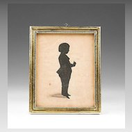 Early 19th C. English Cut Out Silhouette of Young Boy