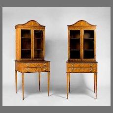 Pair of Matching 19th C. Edwardian Satinwood Inlaid Display Cabinets