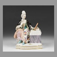 Meissen Porcelain Figurine of Lady At Dressing Table