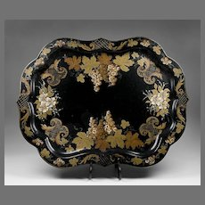 Large English Victorian Hand Painted Tole Tray