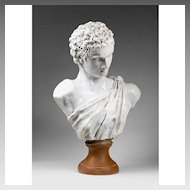 19th C. Della Robbia Style Glazed Terracotta Bust of Alexander The Great