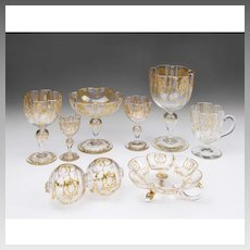 54 Piece Matched Set of Moser Glassware With Raised Gilt Enamel