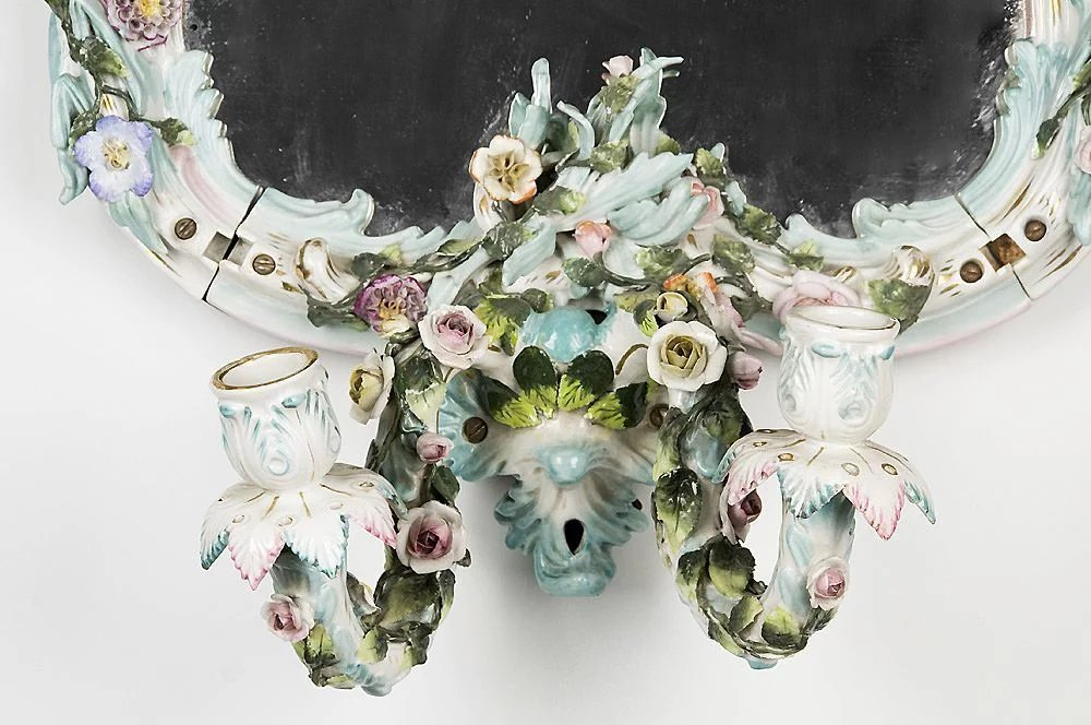 19th C Sitzendorf Porcelain Wall Mirror With Sconce Pia