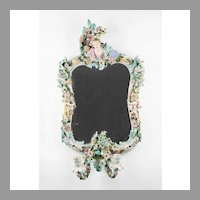 19th C. Sitzendorf Porcelain Wall Mirror With Sconce
