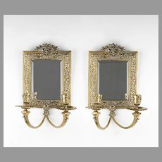 19th C. French Cast Brass Louis XV Style Mirrored Sconces