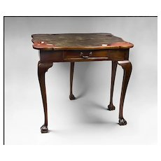 George III Mahogany Fold Over Gaming Card Table, Leather Top